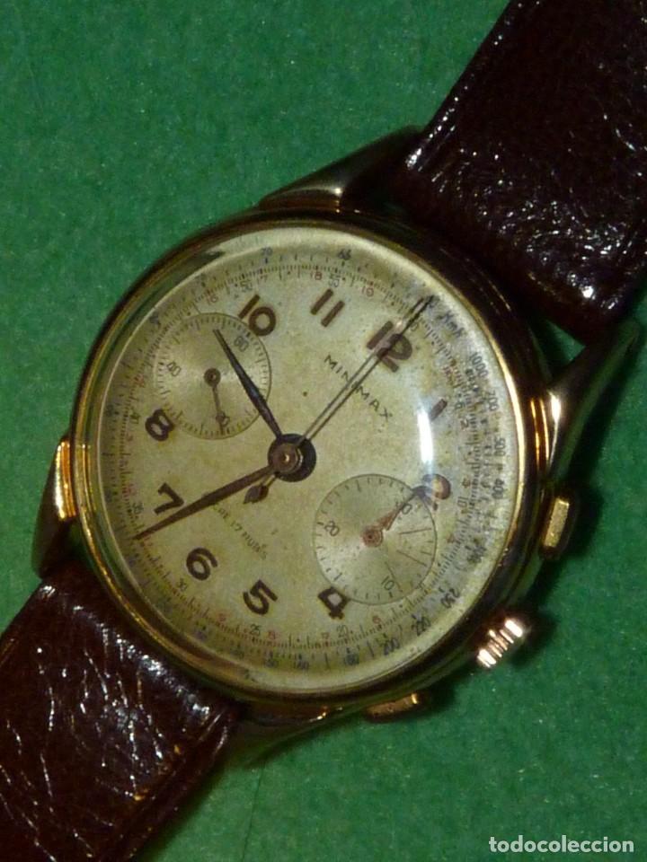 Relojes de pulsera: ELEGANTE RELOJ CRONOMETRO MINIMAX CALIBRE LANDERON 48 SWISS MADE 17 RUBIS AÑOS 50 - Foto 4 - 137462154
