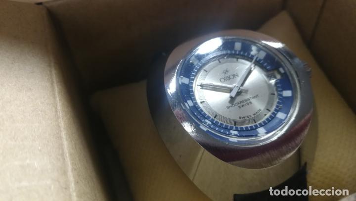 Relojes de pulsera: Botito reloj Orion grande de caballero con botita esfera azul marino, funcionando - Foto 7 - 139002582