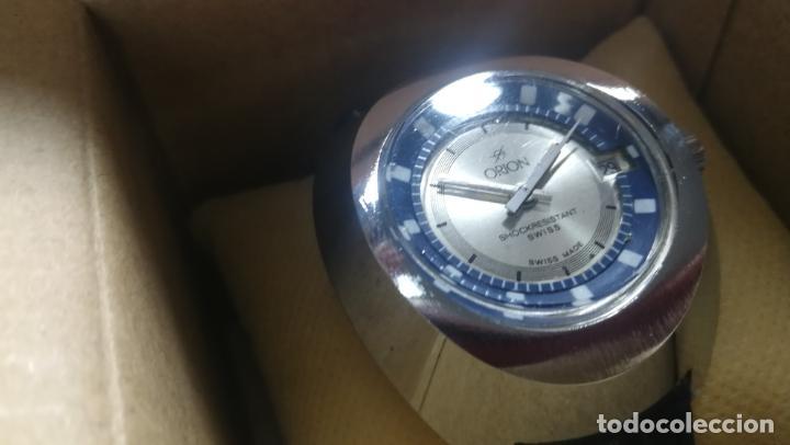 Relojes de pulsera: Botito reloj Orion grande de caballero con botita esfera azul marino, funcionando - Foto 8 - 139002582