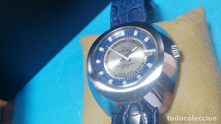 Relojes de pulsera: Botito reloj Orion grande de caballero con botita esfera azul marino, funcionando - Foto 35 - 139002582