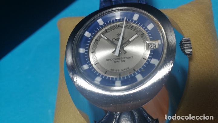 Relojes de pulsera: Botito reloj Orion grande de caballero con botita esfera azul marino, funcionando - Foto 38 - 139002582