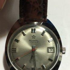Relojes de pulsera: RELOJ RUWAL 17RUBIS CARGA MANUAL Y CAJA DE ACERO NUEVO SIN USO PARA COLECCIONISTAS. Lote 139451618