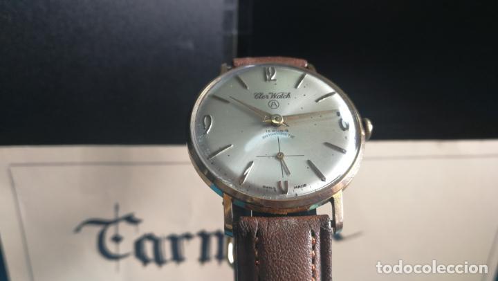 Relojes de pulsera: Botito reloj de cuerda antiguo Cler Walch, funcionando, chapado en oro,de caballero - Foto 6 - 140290502