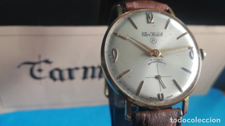 Relojes de pulsera: Botito reloj de cuerda antiguo Cler Walch, funcionando, chapado en oro,de caballero - Foto 7 - 140290502