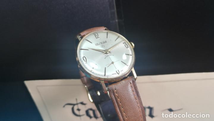Relojes de pulsera: Botito reloj de cuerda antiguo Cler Walch, funcionando, chapado en oro,de caballero - Foto 20 - 140290502