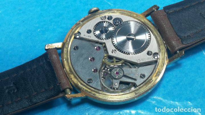 Relojes de pulsera: Botito reloj de cuerda antiguo Cler Walch, funcionando, chapado en oro,de caballero - Foto 43 - 140290502