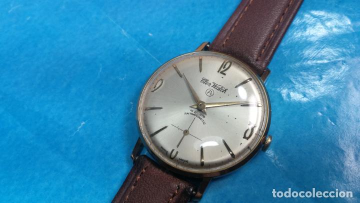 Relojes de pulsera: Botito reloj de cuerda antiguo Cler Walch, funcionando, chapado en oro,de caballero - Foto 51 - 140290502