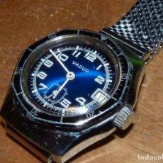 Relojes de pulsera: BONITO RELOJ SCUBA VADUR CALIBRE LORSA 238 ESFERA AZUL BISEL GIRATORIO FACETADO BUCEO VINTAGE. Lote 142267130