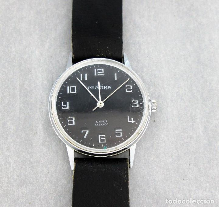 RELOJ PRATINA DE CUERDA, FUNCIONANDO, HOMBRE, 35 MM S.C.C. TIENE ARAÑAZOS EN CRISTAL. (Relojes - Pulsera Carga Manual)