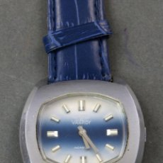 Relojes de pulsera: RELOJ CABALLERO CUERDA VANROY INCABLOC SWISS MADE AZUL FUNCIONA. Lote 143160186