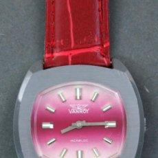 Relojes de pulsera: RELOJ CUERDA VANROY INCABLOC SWISS MADE ESFERA FUCSIA FUNCIONA. Lote 143161450