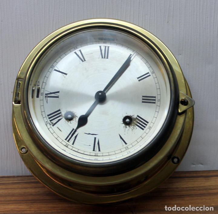 ANTIGUO RELOJ NAUTICO ALEMAN BARCO 8 DIAS SONERIA LATON 18 X 8 CM PERFECTO FUNCIONAMIENTO 530,00 € (Relojes - Pulsera Carga Manual)