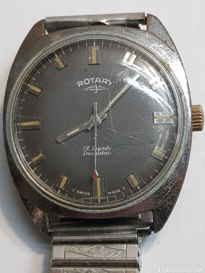 RELOJ ANTIGUO ROTARY CARGA MANUAL 17 JEWELS FUNCIONANDO (Relojes - Pulsera Carga Manual)