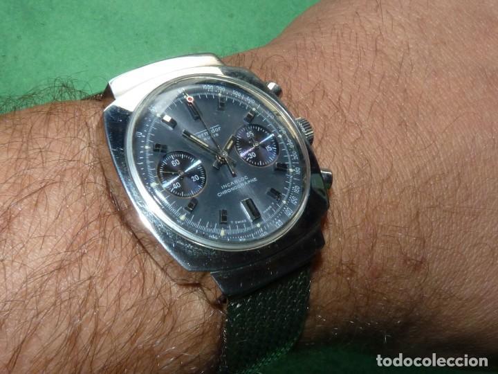 RARISIMO RELOJ THERMIDOR CRONOMETRO VALJOUX 7733 SWISS MADE CRONO ACERO 17 RUBIS MILANESA (Relojes - Pulsera Carga Manual)