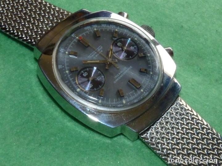 Relojes de pulsera: RARISIMO RELOJ THERMIDOR CRONOMETRO VALJOUX 7733 SWISS MADE CRONO ACERO 17 RUBIS MILANESA - Foto 3 - 144622514