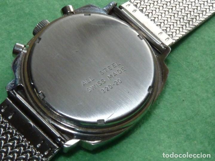 Relojes de pulsera: RARISIMO RELOJ THERMIDOR CRONOMETRO VALJOUX 7733 SWISS MADE CRONO ACERO 17 RUBIS MILANESA - Foto 4 - 144622514