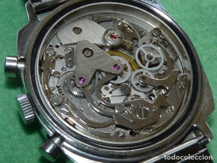 Relojes de pulsera: RARISIMO RELOJ THERMIDOR CRONOMETRO VALJOUX 7733 SWISS MADE CRONO ACERO 17 RUBIS MILANESA - Foto 6 - 144622514