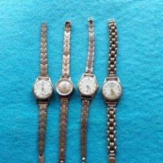 Relojes de pulsera: LOTE DE 4 RELOJES DE DAMA MECÁNICOS ANTIGUOS. SWISS MADE.. Lote 147017018
