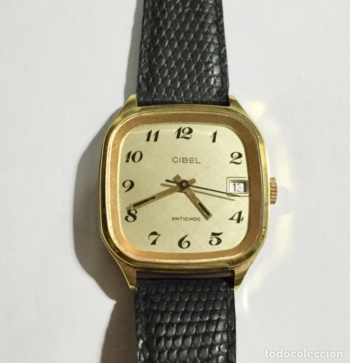 VINTAGE CIBEL CAL.FE. CAJA PLAQUE ORO DE 33 M/M.C/C. SEGUNDERO ,CALENDARIO, ANTICHOC . (Relojes - Pulsera Carga Manual)