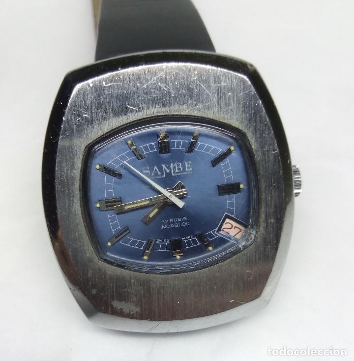 RELOJ VINTAGE SAMBE DE CARGA MANUAL, SWISS MADE - CAJA 34 MM - FUNCIONANDO (Relojes - Pulsera Carga Manual)