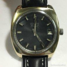 Relojes de pulsera: RELOJ DUWARD TRIUMPH CHAPADO ,ESFERA NEGRA VER FOTOS,FUNCIONA. Lote 148040666