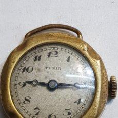 Relojes de pulsera: RELOJ ANTIGUO CUERDA TURIA DE TRINCHERA ESCASO. Lote 148516177
