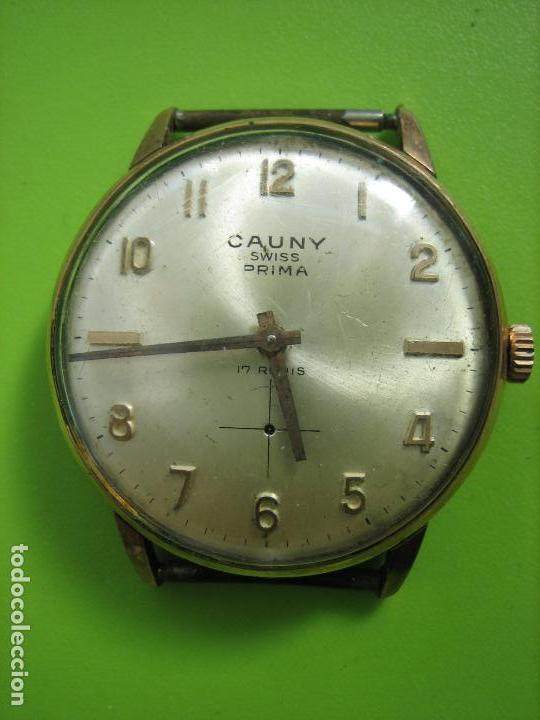RELOJ DE CABALLERO CAUNY. FUNCIONA. FALTA AGUJA DE SEGUNDERO (Relojes - Pulsera Carga Manual)