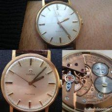Relojes de pulsera: RELOJ OMEGA GENEVE A CUERDA, EN ORO DE 18 KT, FUNCIONANDO, BUEN ESTADO, CORREA EN CUERO. . Lote 150546630