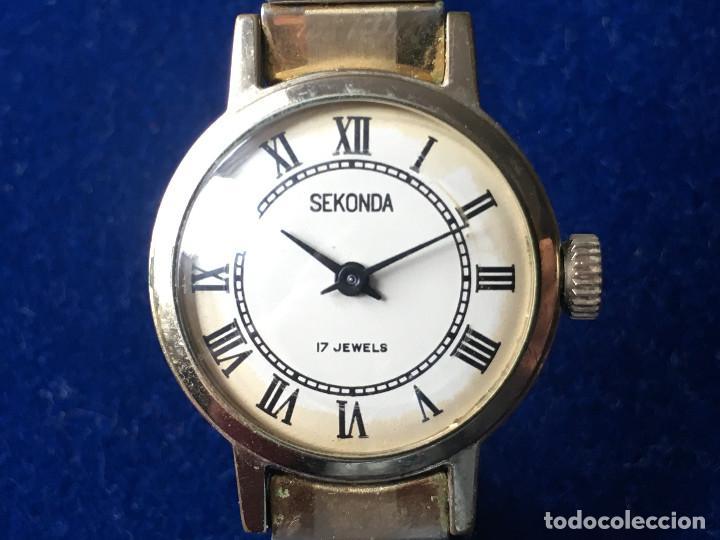 Relojes de pulsera: ANTIGUO RELOJ DE SEÑORA SEKONDA 17 JEWELS, RUSO - Foto 2 - 150688422
