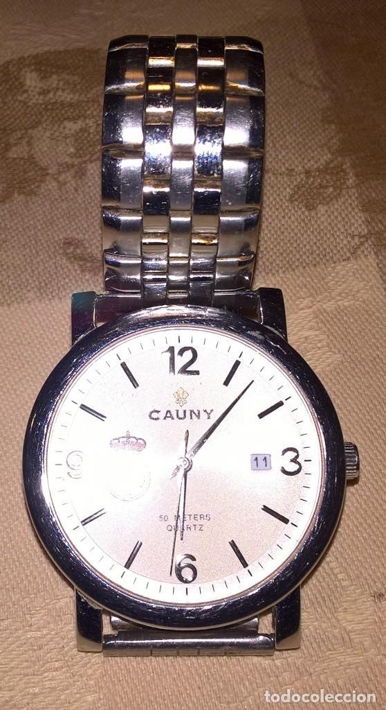 Relojes de pulsera: RELOJ CAUNY. MODELO 610077C. FUNCIONA CON PILA. EN FUNCIONAMIENTO. ESCUDO REAL UNION CLUB DE IRUN. - Foto 2 - 150796050