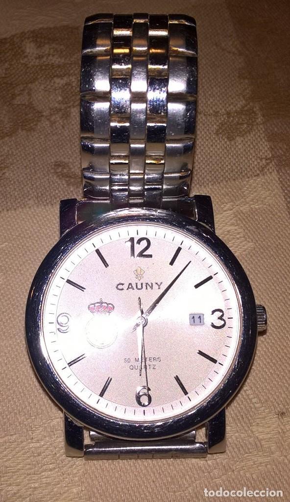 Relojes de pulsera: RELOJ CAUNY. MODELO 610077C. FUNCIONA CON PILA. EN FUNCIONAMIENTO. ESCUDO REAL UNION CLUB DE IRUN. - Foto 3 - 150796050