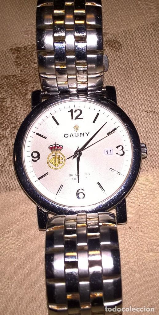 Relojes de pulsera: RELOJ CAUNY. MODELO 610077C. FUNCIONA CON PILA. EN FUNCIONAMIENTO. ESCUDO REAL UNION CLUB DE IRUN. - Foto 5 - 150796050