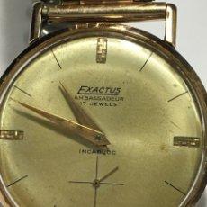 Relojes de pulsera: RELOJ EXACTUS AMBASSEADUR 17 JEWELS FUNCIONA CHAPADO ORO. Lote 151293354
