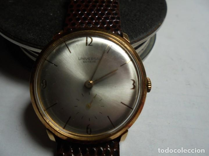 MAGNIFICO ANTIGUO RELOJ DE ORO DE 18K UNIVERSAL GENEVE,FUNCIONANDO,SALIDA 1 EURO (Uhren - Armbanduhren)