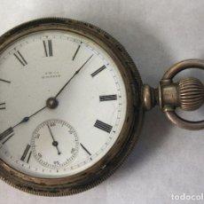 Relojes de pulsera: RELOJ DE BOLSILLO A.W. CO. WALTHAM. COIN SILVER. NO FUNCIONA, PARA DESPIECE. JEFE ESTACION. Lote 154650338