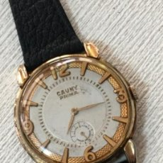 Relojes de pulsera: RELOJ CAUNY PRIMA LA CHAUX DE FONDS CHAPADO DE ORO CARGA MANUAL GRAN TAMAÑO 40 MM. Lote 155701814