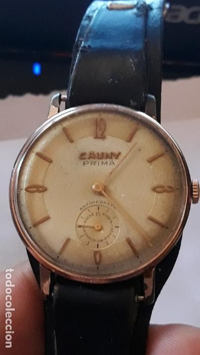 RELOJ DE PULSERA CABALLERO CARGA MANUAL CAUNY PRIMA, FUNCIONA (Relojes - Pulsera Carga Manual)