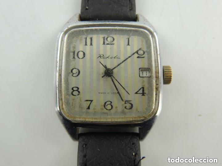 Relojes de pulsera: Antiguo Reloj Pulsera de Marca Raketa con Calendario Años 60 USSR Rusia Carga Manual - Foto 6 - 156555690