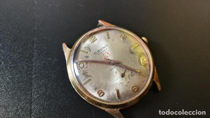 Relojes de pulsera: Reloj Cauny chapado en oro de 23 rubis o jewels, funcionando, aunque atrasa cuando le parece - Foto 4 - 157987914