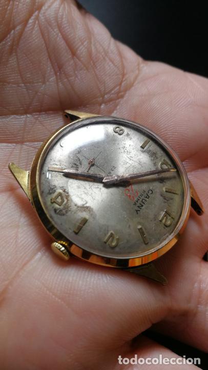 Relojes de pulsera: Reloj Cauny chapado en oro de 23 rubis o jewels, funcionando, aunque atrasa cuando le parece - Foto 5 - 157987914