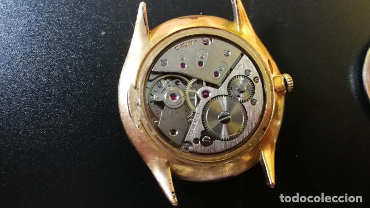 Relojes de pulsera: Reloj Cauny chapado en oro de 23 rubis o jewels, funcionando, aunque atrasa cuando le parece - Foto 7 - 157987914