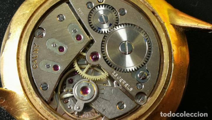 Relojes de pulsera: Reloj Cauny chapado en oro de 23 rubis o jewels, funcionando, aunque atrasa cuando le parece - Foto 11 - 157987914