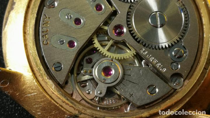 Relojes de pulsera: Reloj Cauny chapado en oro de 23 rubis o jewels, funcionando, aunque atrasa cuando le parece - Foto 12 - 157987914