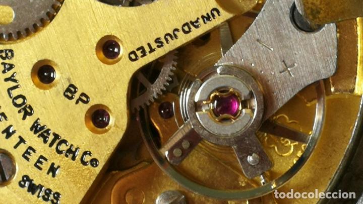 Relojes de pulsera: Reloj BAYLOR de cuerda todo original, di cuerda andó un rato t se paró, antiqué, 17 rubies - Foto 26 - 157988738