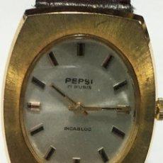 Relojes de pulsera: RELOJ PEPSI PLACA DE ORO MECANICO ,AÑOS 60 REGALO A DIRECTIVOS. Lote 158106170