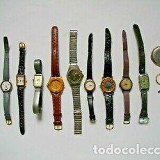 Relojes de pulsera: VINTAGE LOTE RELOJES ANTIGUOS CUERDA CUARZO Y DIGITAL.. Lote 159058834