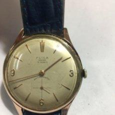 Relojes de pulsera: RELOJ CARGA MANUAL MARCA FLICA 1950? FUNCIONA PLACA DE ORO VER FOTOS 15 RUBIS. Lote 159954298