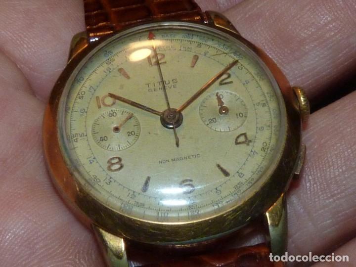 ELEGANTE RELOJ CRONOMETRO TITUS GENEVE CALIBRE LANDERON 48 SWISS MADE 17 RUBIS AÑOS 40 (Relojes - Pulsera Carga Manual)