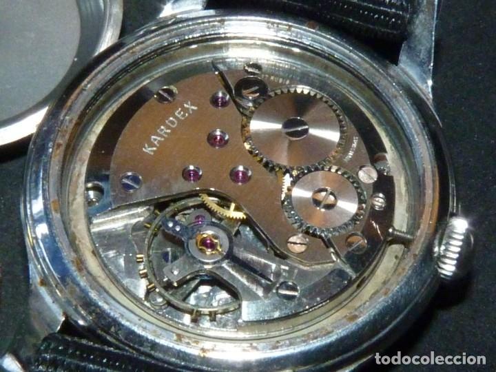 Relojes de pulsera: Precioso reloj KARDEX tipo militar años 50 calibre ETA 2370 swiss made 17 rubis caja acero BAUHAUS - Foto 6 - 96545343