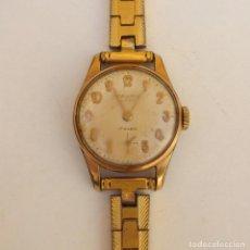 Relojes de pulsera: RELOJ CAUNY PRIMA LADY 17 RUBIS - CHAPADO EN ORO. Lote 165594554